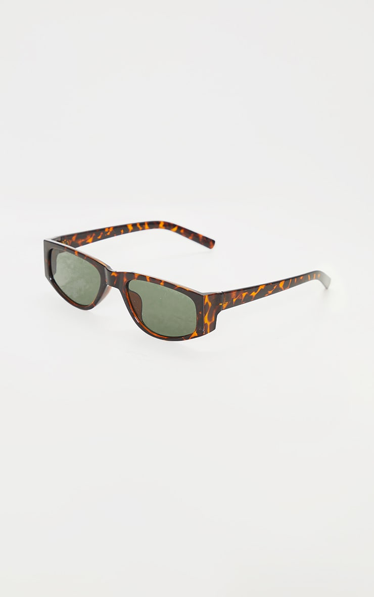 Brown Tortoise Slimline Square Frame Sunglasses 3