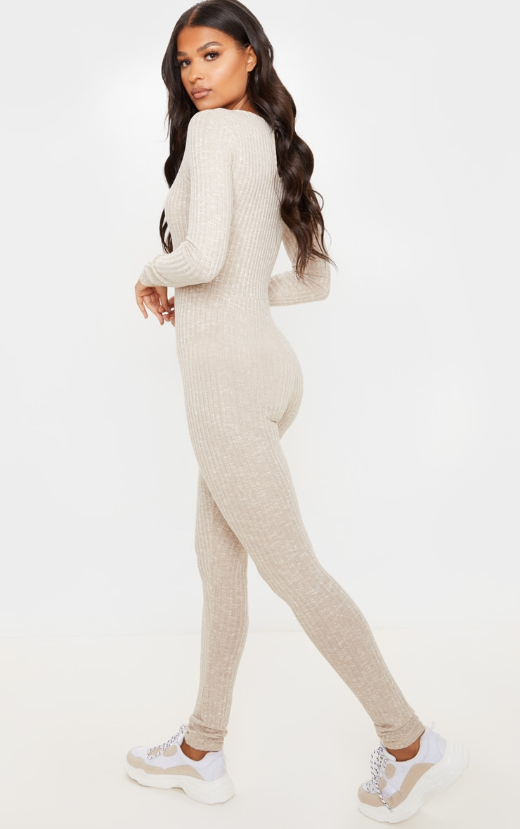 Oatmeal Open Neck Fitted Jumpsuit 2