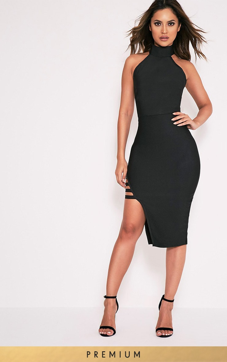 Dacia Black Bandage High Neck Midi Dress 1