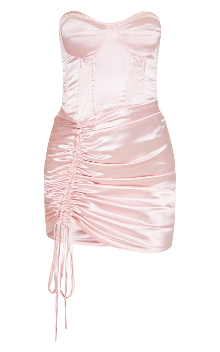 Baby Pink Satin Ruched Side Bandeau Bodycon Dress 3