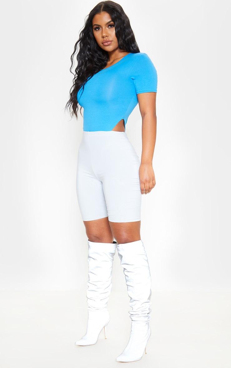 Bright Blue Cotton Crew Neck High Leg Short Sleeve Bodysuit 5
