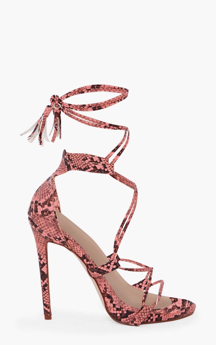 Pink Snake Print Tassel Lace Up Heels 3