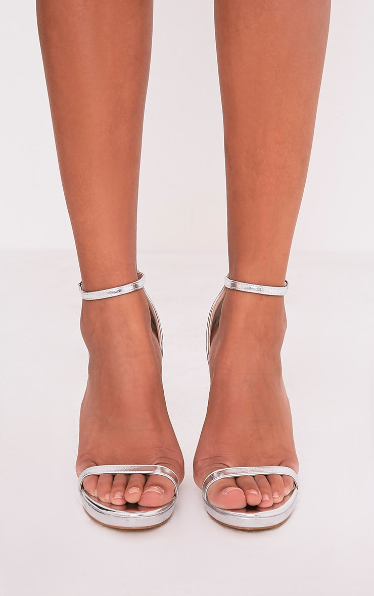 Enna Silver Single Strap Heeled Sandals 3
