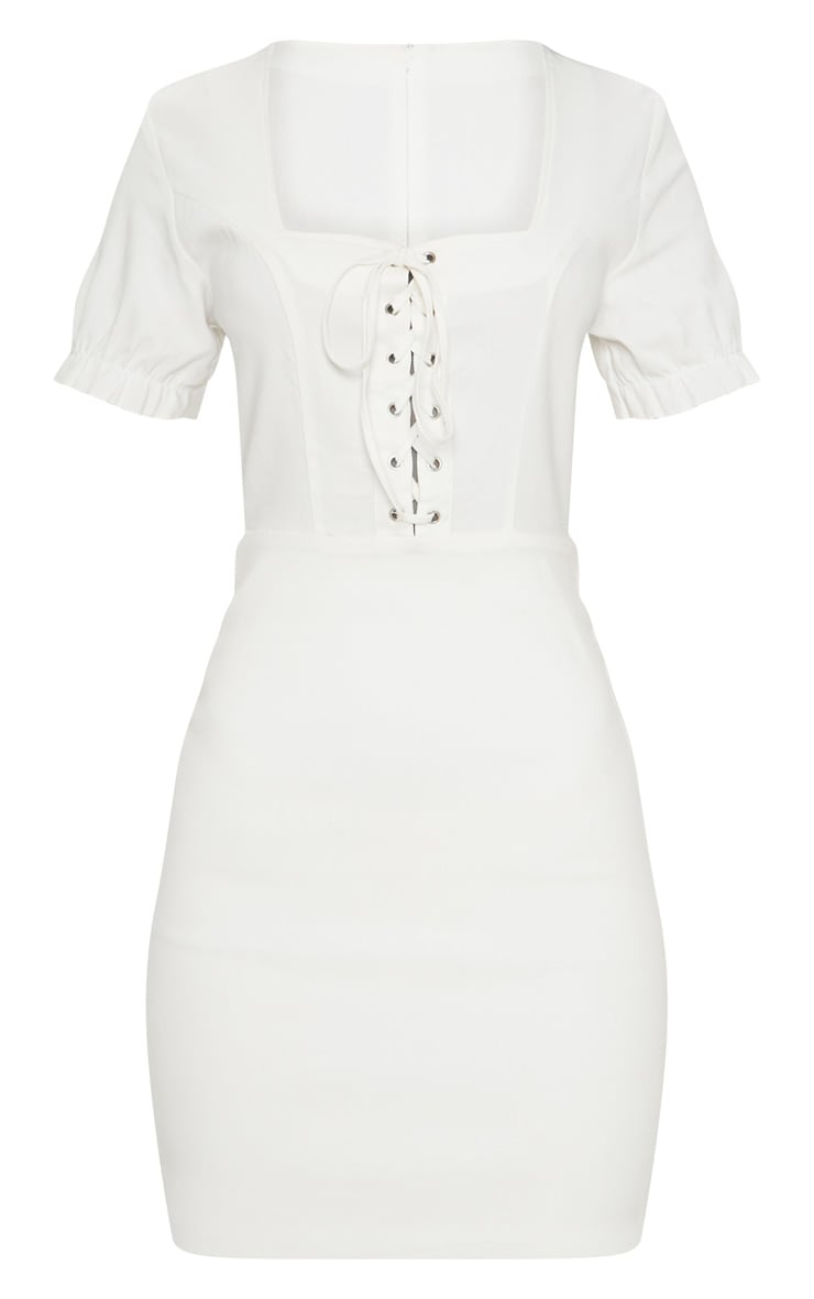 White Lace Up Frill Detail Bodycon Dress 3