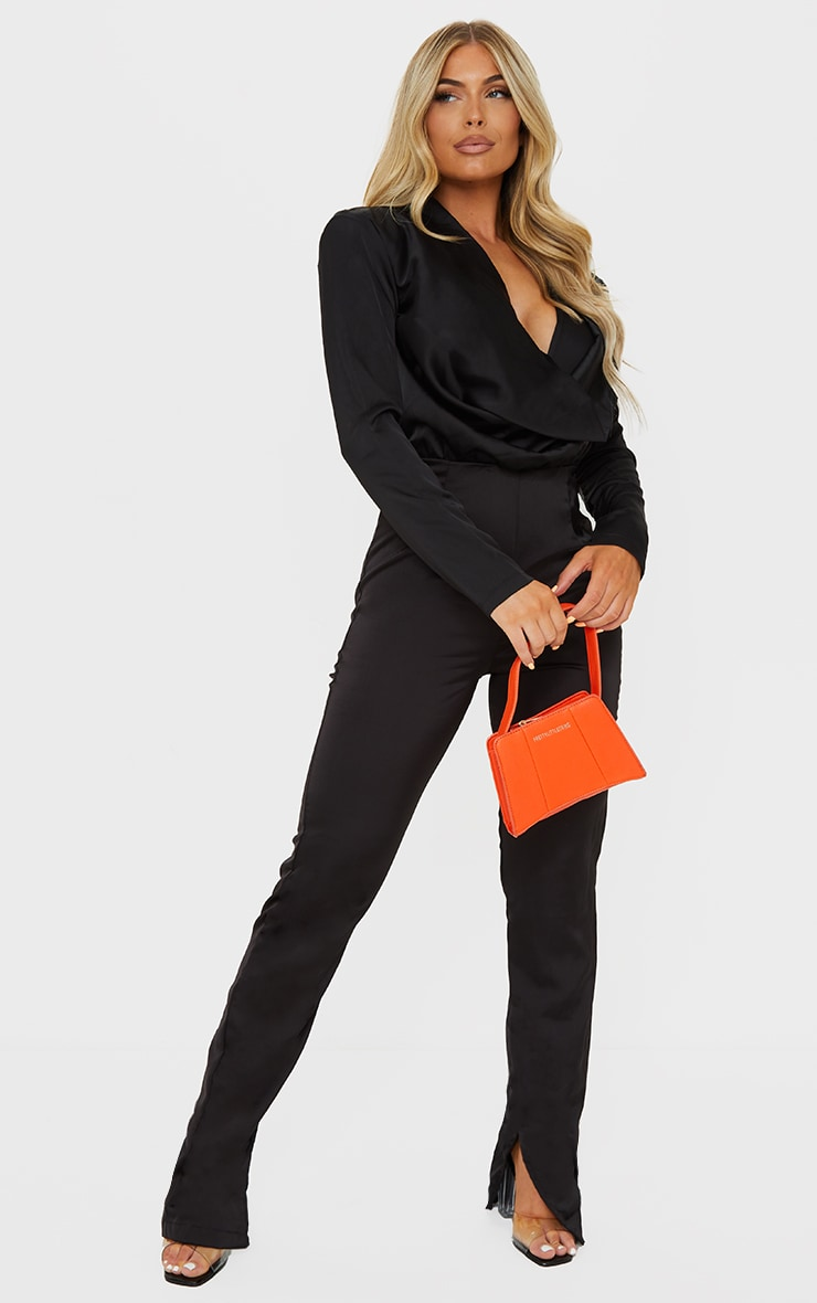Black Satin Cowl Neck Long Sleeve Jumpsuit image 1