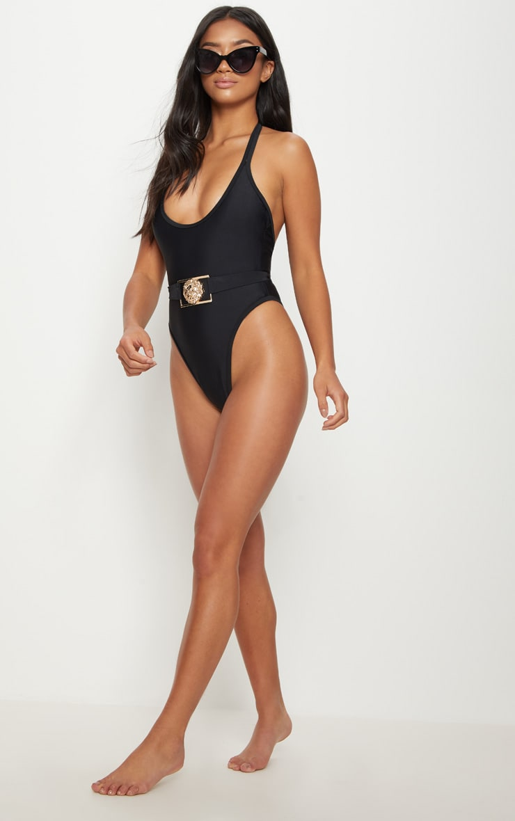 Petite Black Lion Belted Swimsuit 4
