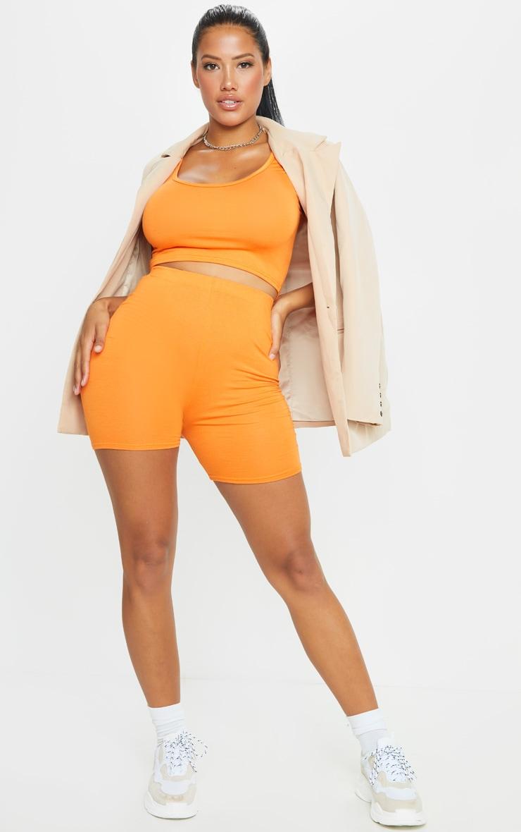 Shape Orange Jersey Scoop Neck Crop Top 3