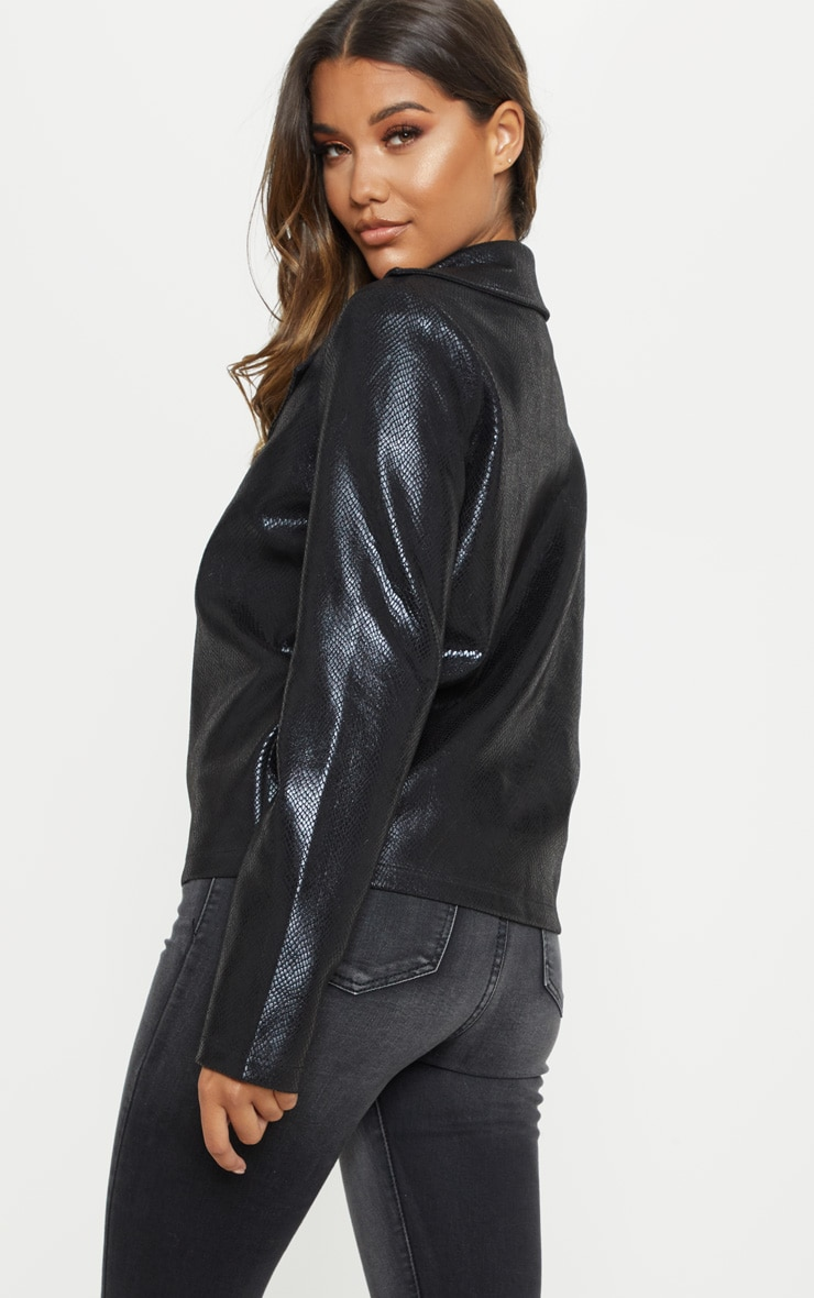 Black Snake PU Biker Jacket 2