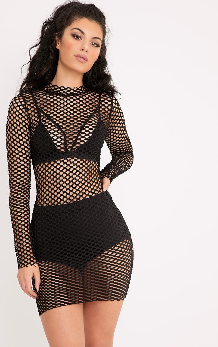 63da480fa96 Izzie Black Fishnet Bodycon Dress image 1