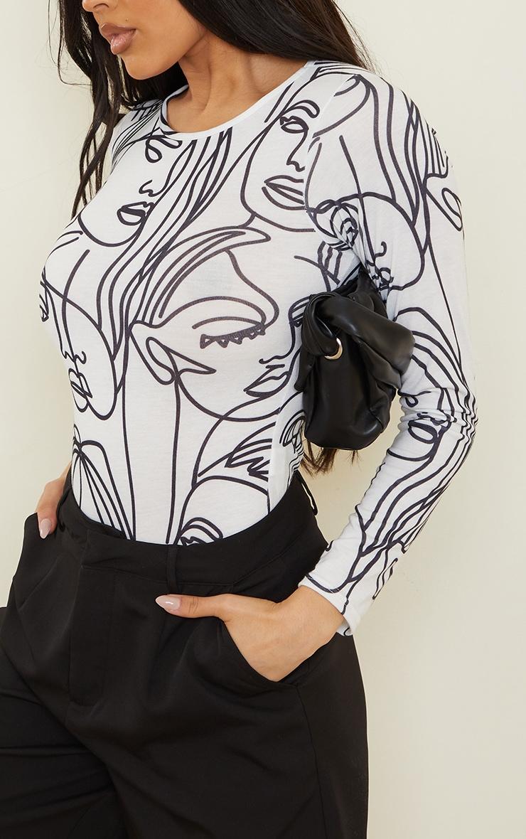White Abstract Face Print Basic Crew Neck Long Sleeve Bodysuit 4