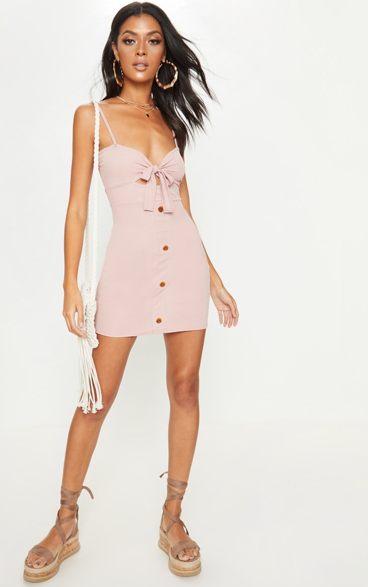 Dusty Pink Ribbed Tie Front Button Down Dress 4
