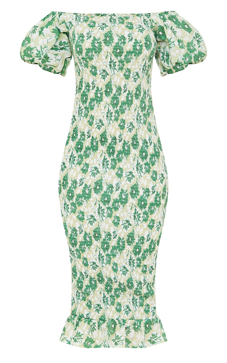 Green Floral Print Shirred Puff Sleeve Midi Dress 5