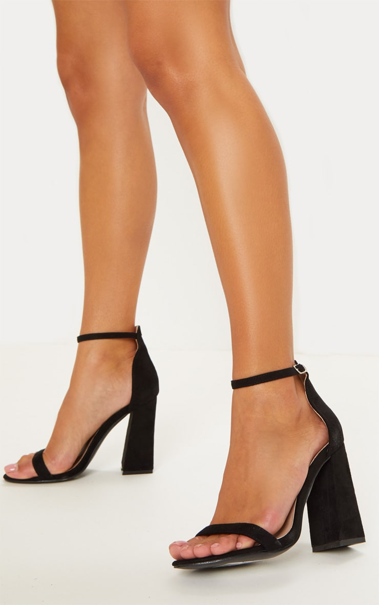 Black High Block Heel Strappy Sandal 2