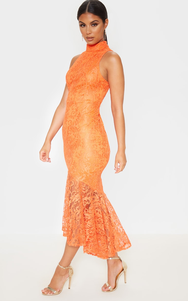 Bright Orange Lace High Neck Fishtail Midaxi Dress 4