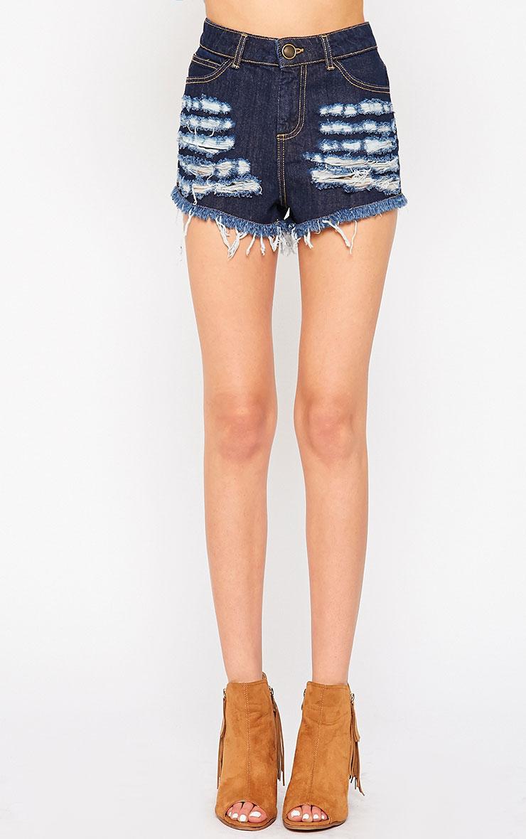 Nilah Indigo Extreme Rip Denim Shorts 2