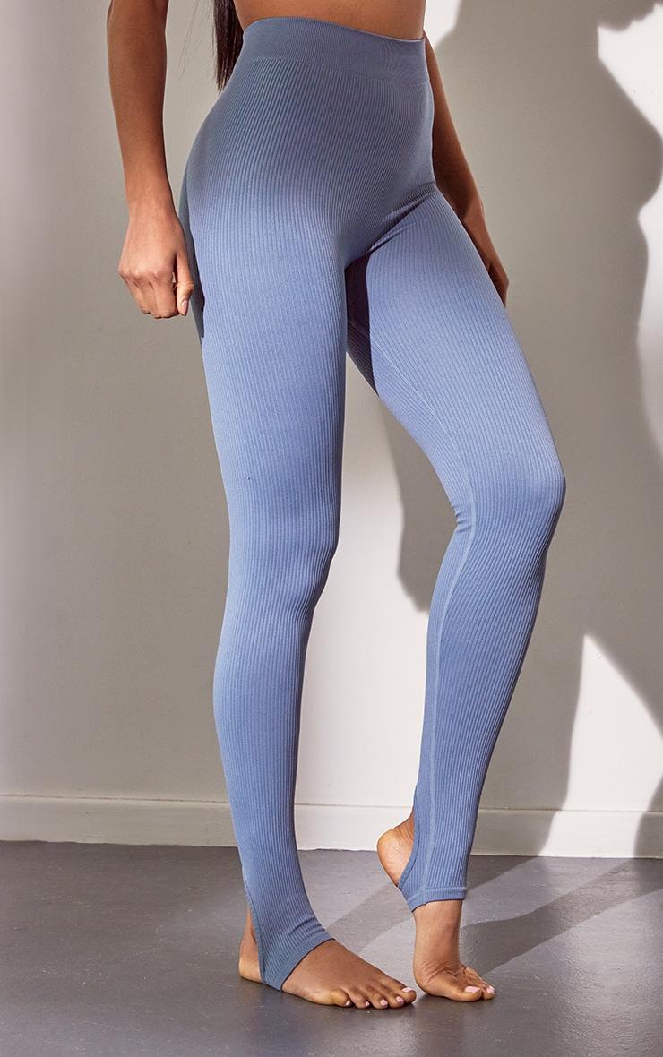 Blue Structured Contour Rib Stirrup Leggings 2
