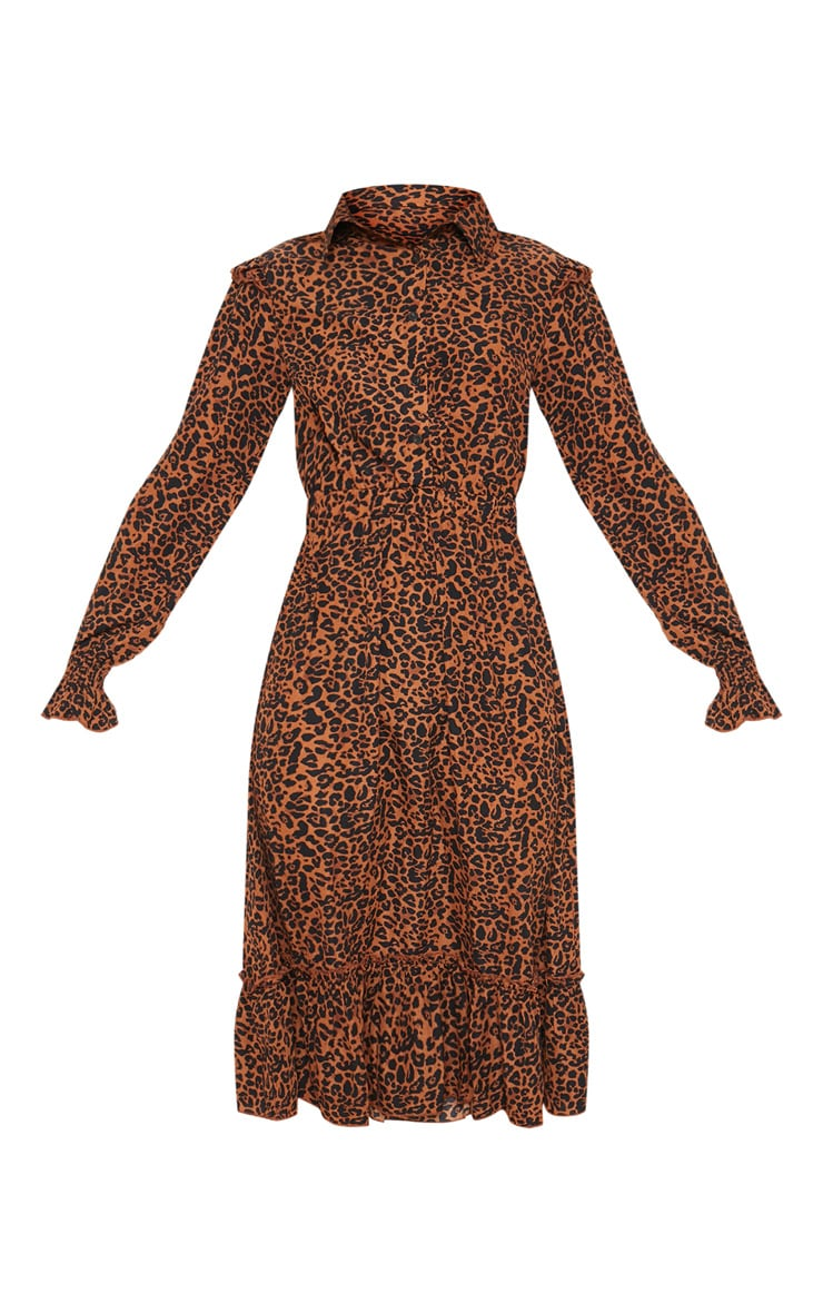 Rust Leopard Print Button Front Frill Midi Shirt Dress 3