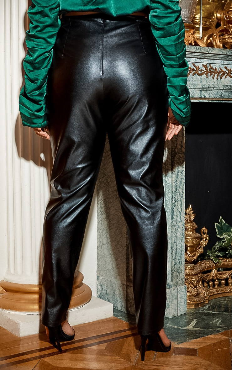 Plus Black Lace Up PU Skinny Trouser 4