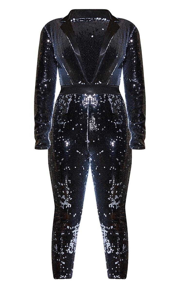 Black Plunge Front Tailored Sequin Jumpsuit 3