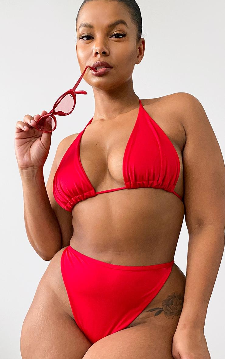 Plus Red Mix & Match Triangle Bikini Top 1