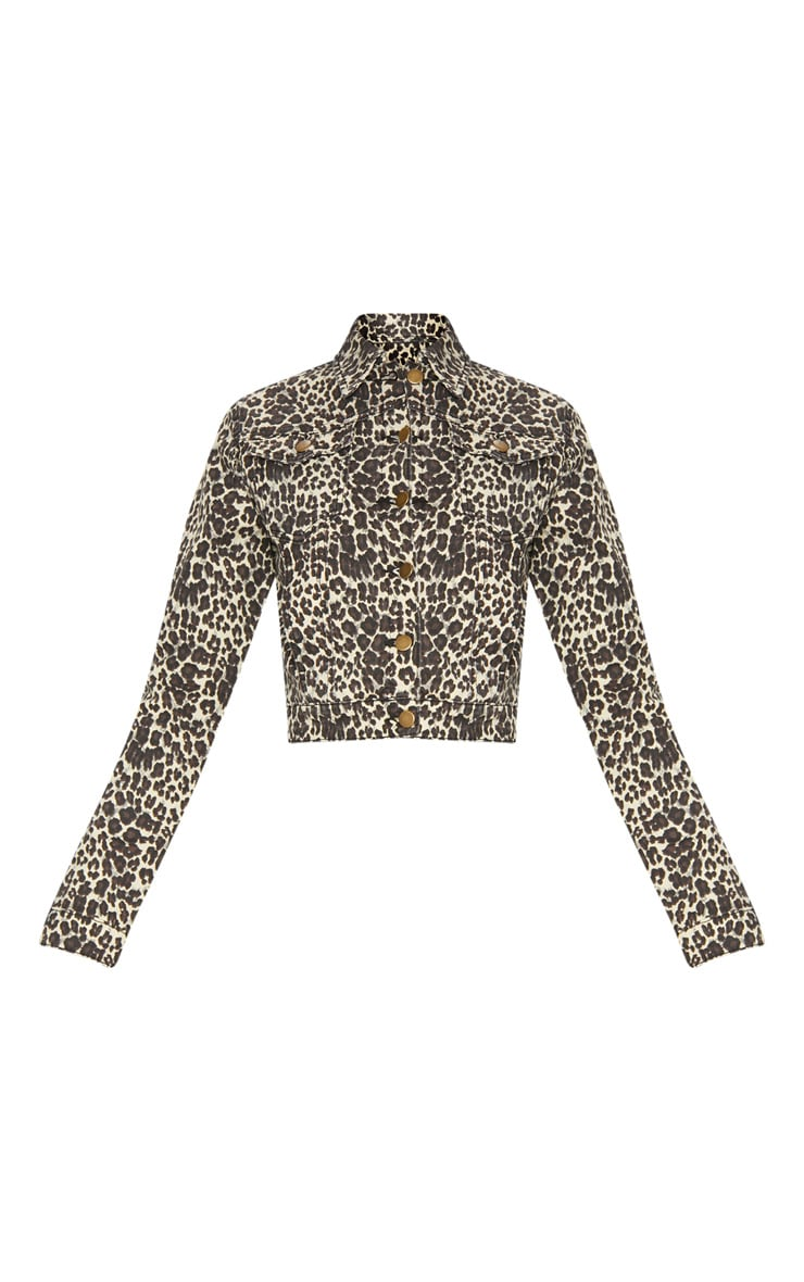 Leopard Cropped Oversized Denim Jacket 3