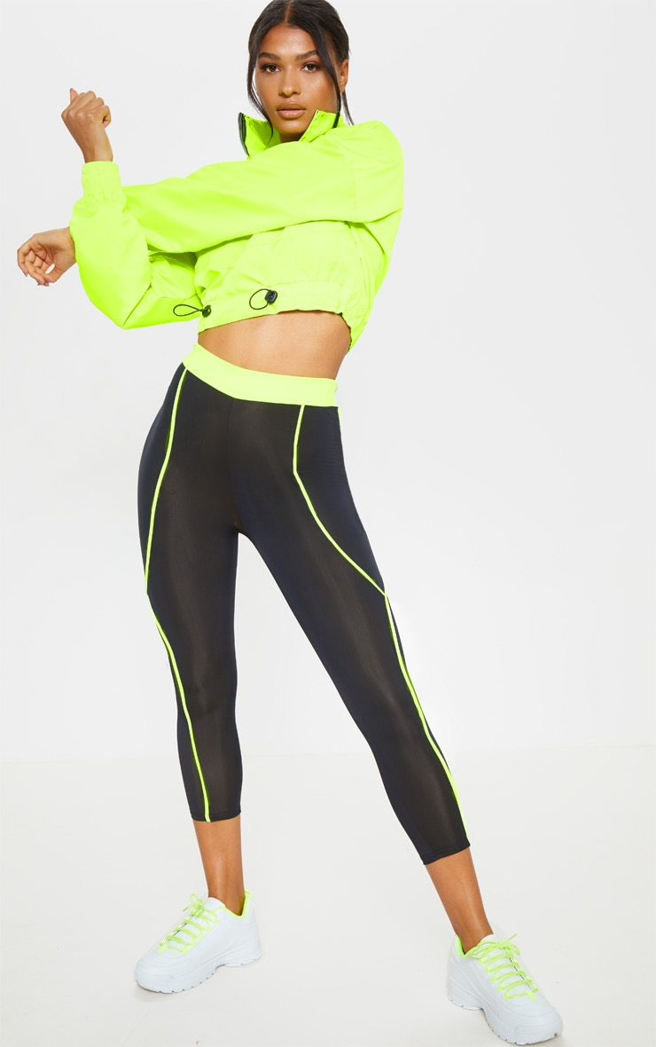 Black Contrast Waistband Cropped Legging 1
