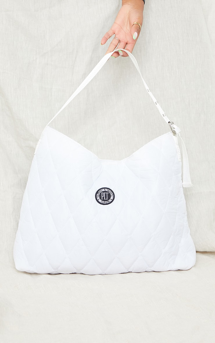 PRETTYLITTLETHING White Quilted Badge Tote Bag 2