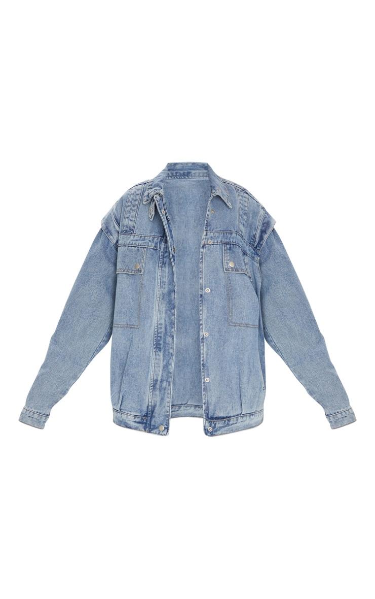 Veste en jean effet vintage oversize à grandes poches frontales 5