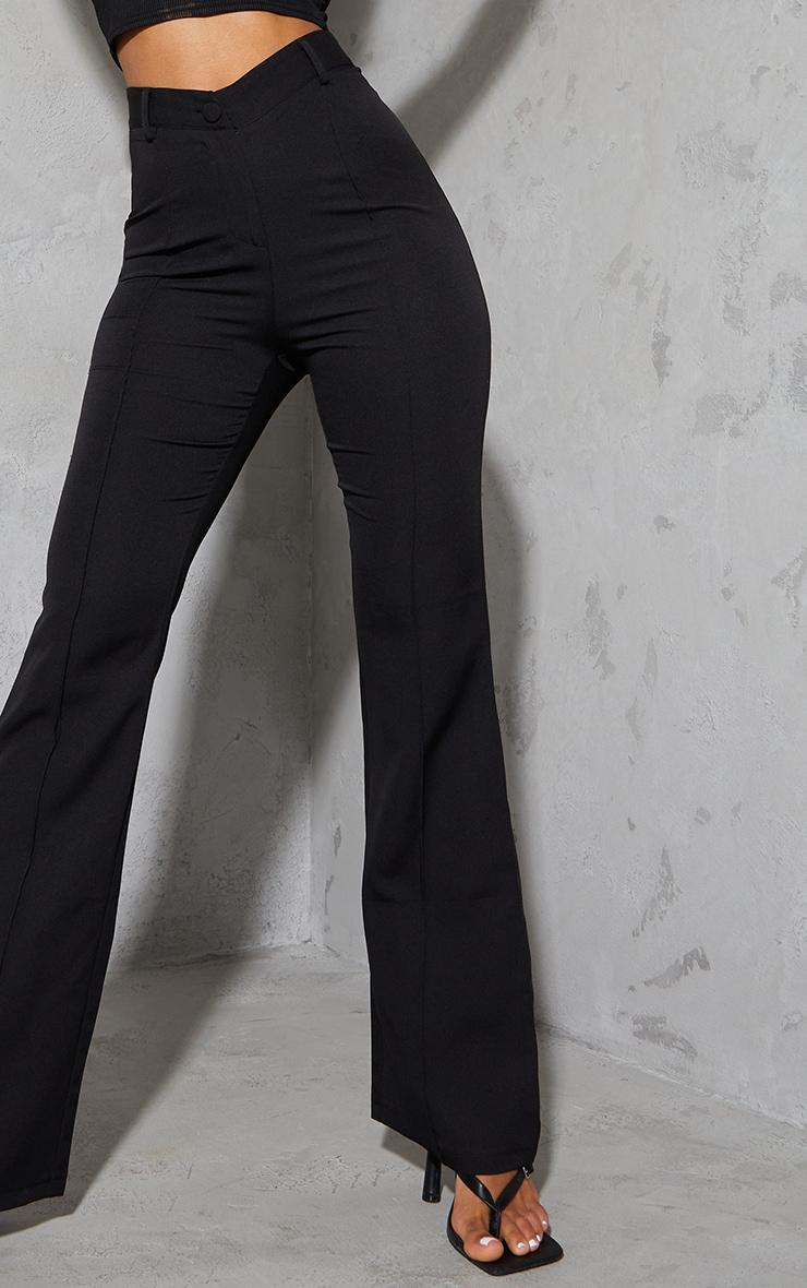 Black Woven V Front Pintuck Wide Leg Pants 4