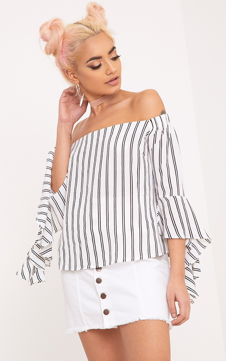Asa White Bardot Stripe Woven Frill Sleeve Blouse 2