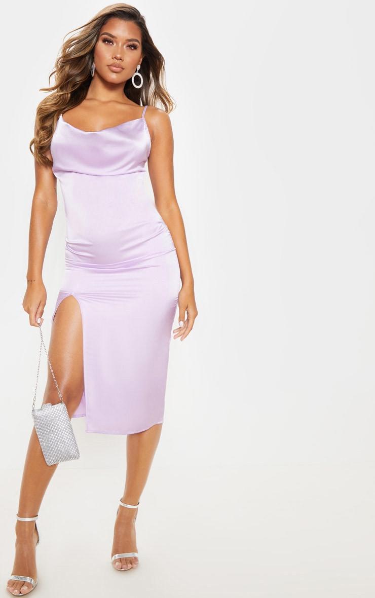 Lilac Strappy Satin Cowl Midi Dress 1