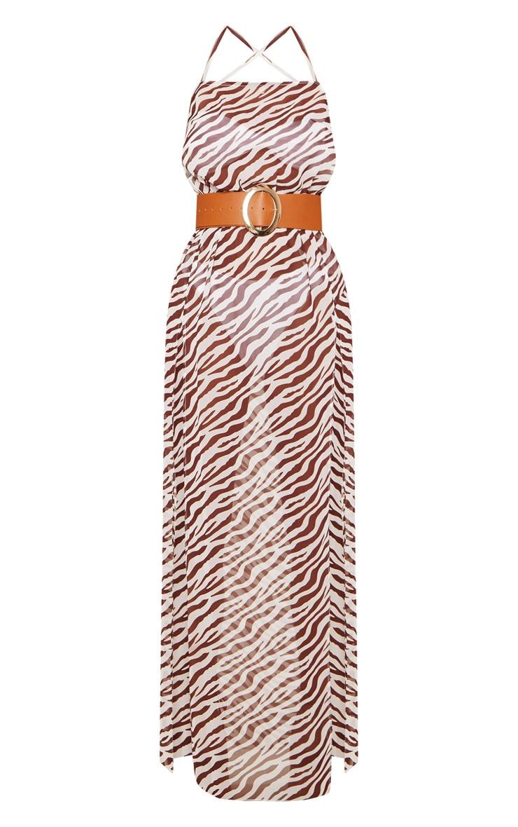Brown Zebra Belted Split Beach Maxi Dress 4