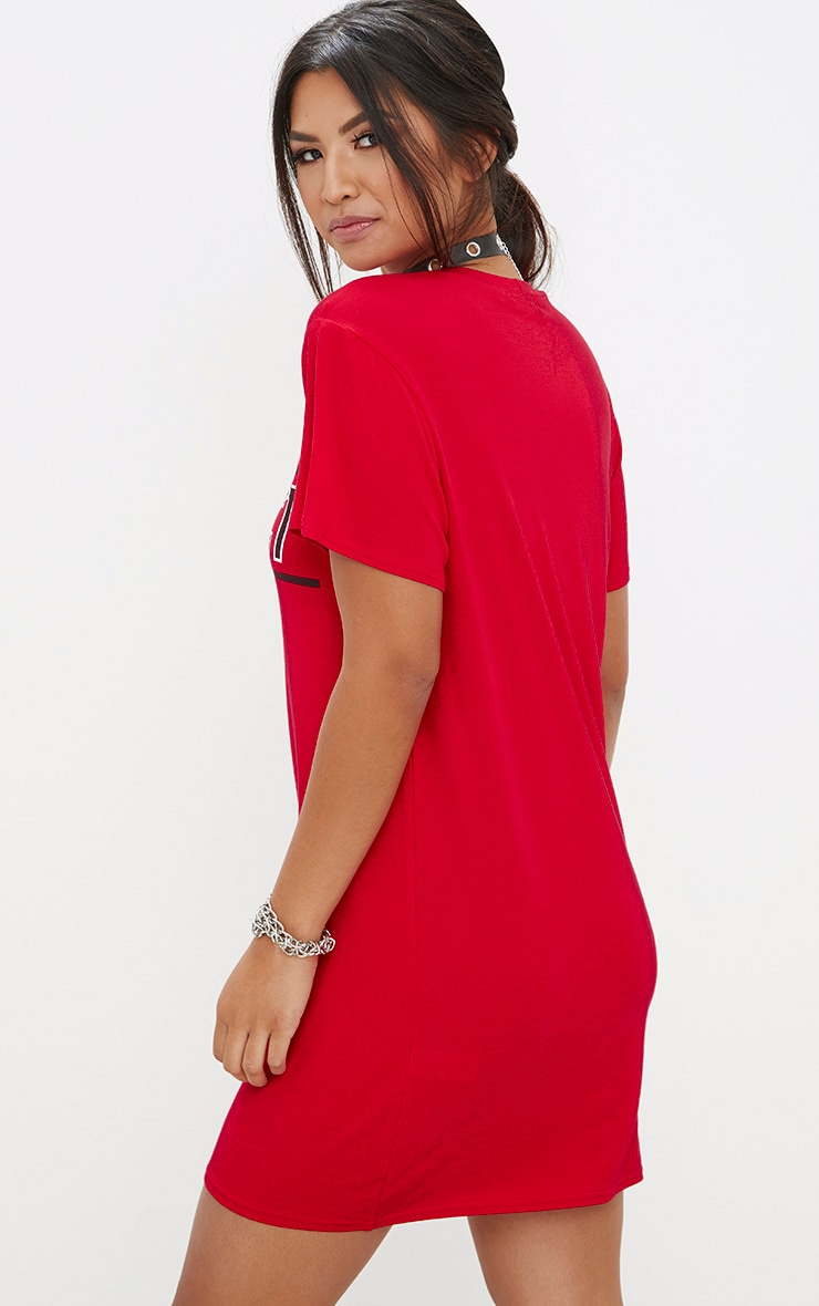 Red Conflict T Shirt Dress 2