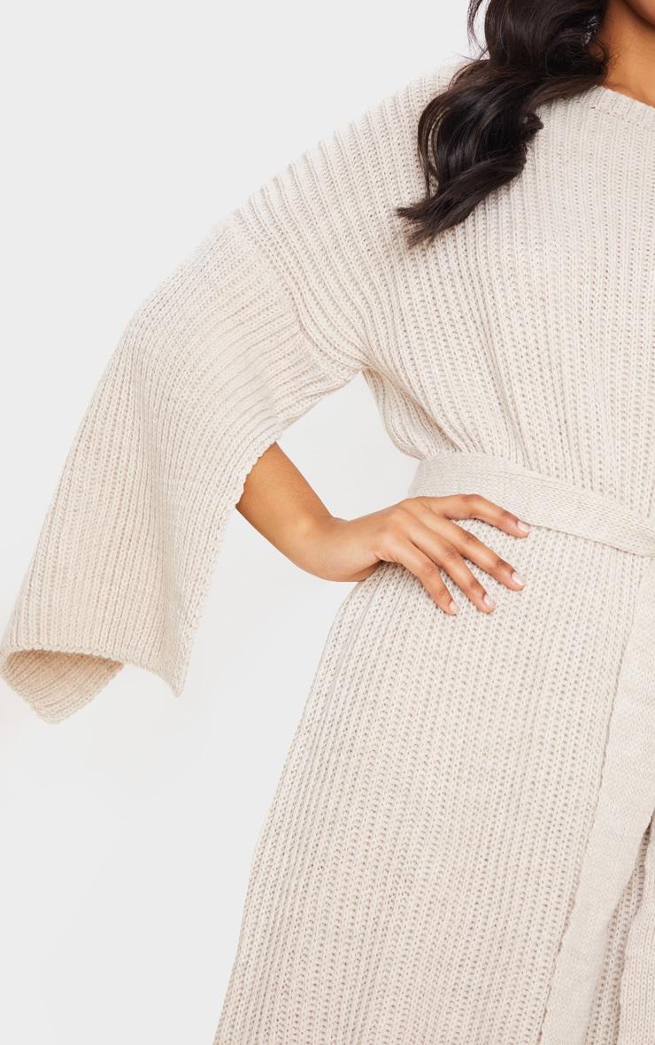 Stone Knitted Tie Waist Split Sleeve Sweater Dress 5