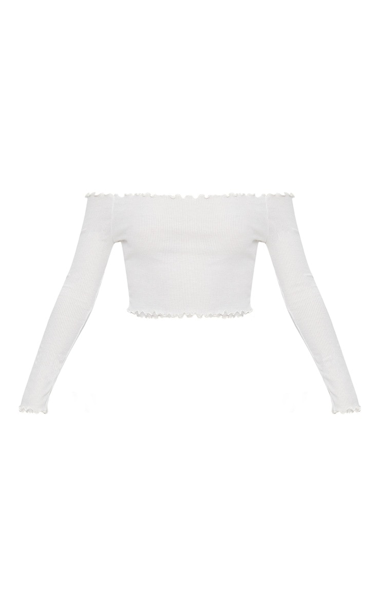 White Frill Edge Crop Top  3