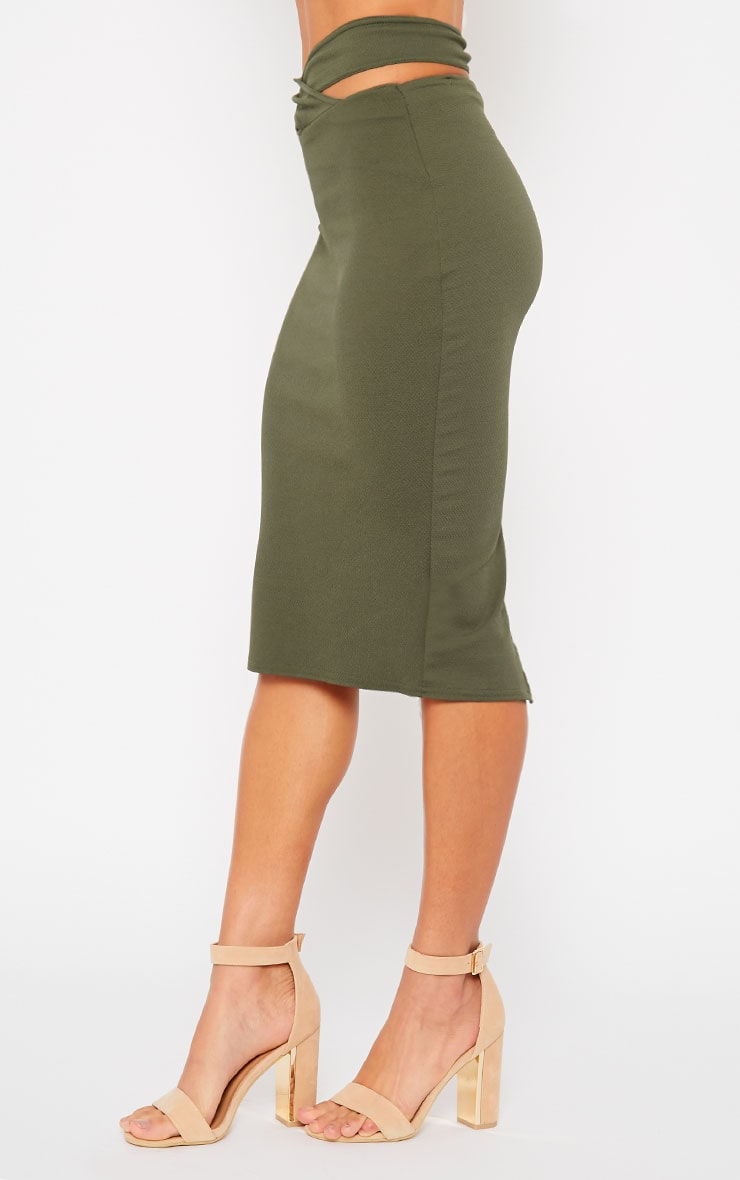 Shanel Khaki Cut Out Midi Skirt 3