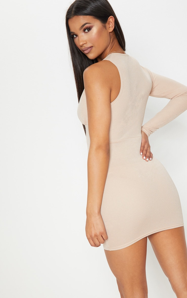 Stone Asymmetric Sleeve Extreme Plunge Bodycon Dress 2