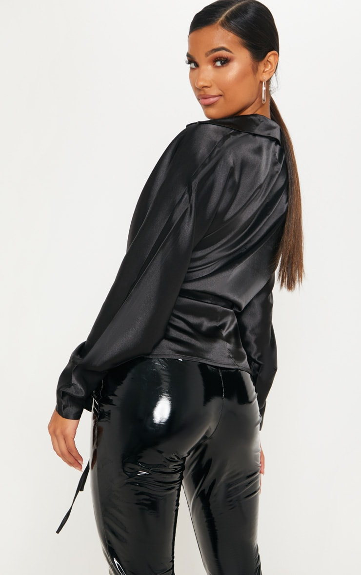 Black Corset Detail Satin Shirt 2