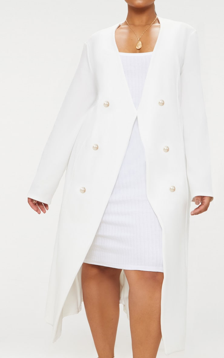 Plus White Military Button Detail Duster Coat 5