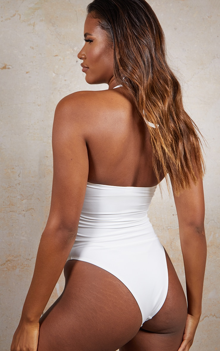 White Bandeau Neck Chain Cut Out Swimsuit 2