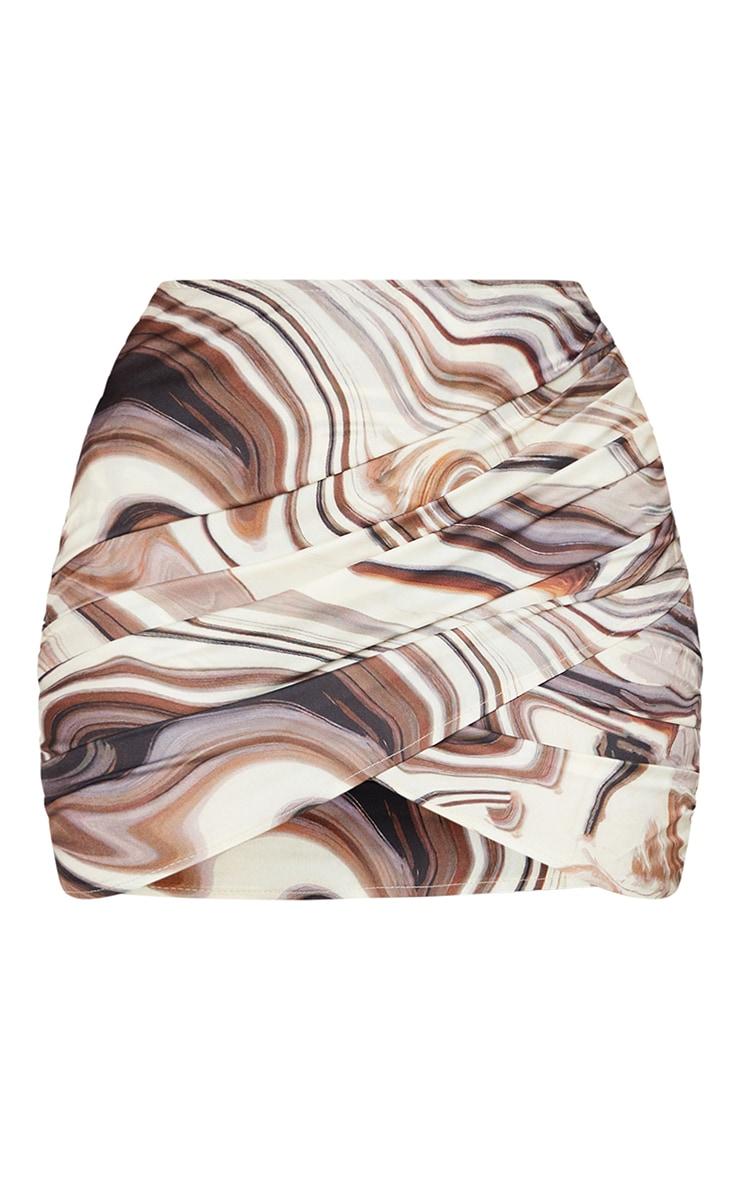 Green Abstract Print Slinky Mini Skirt 6