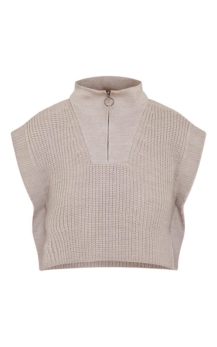 Stone Zip Up Knitted Sleeveless Vest 5