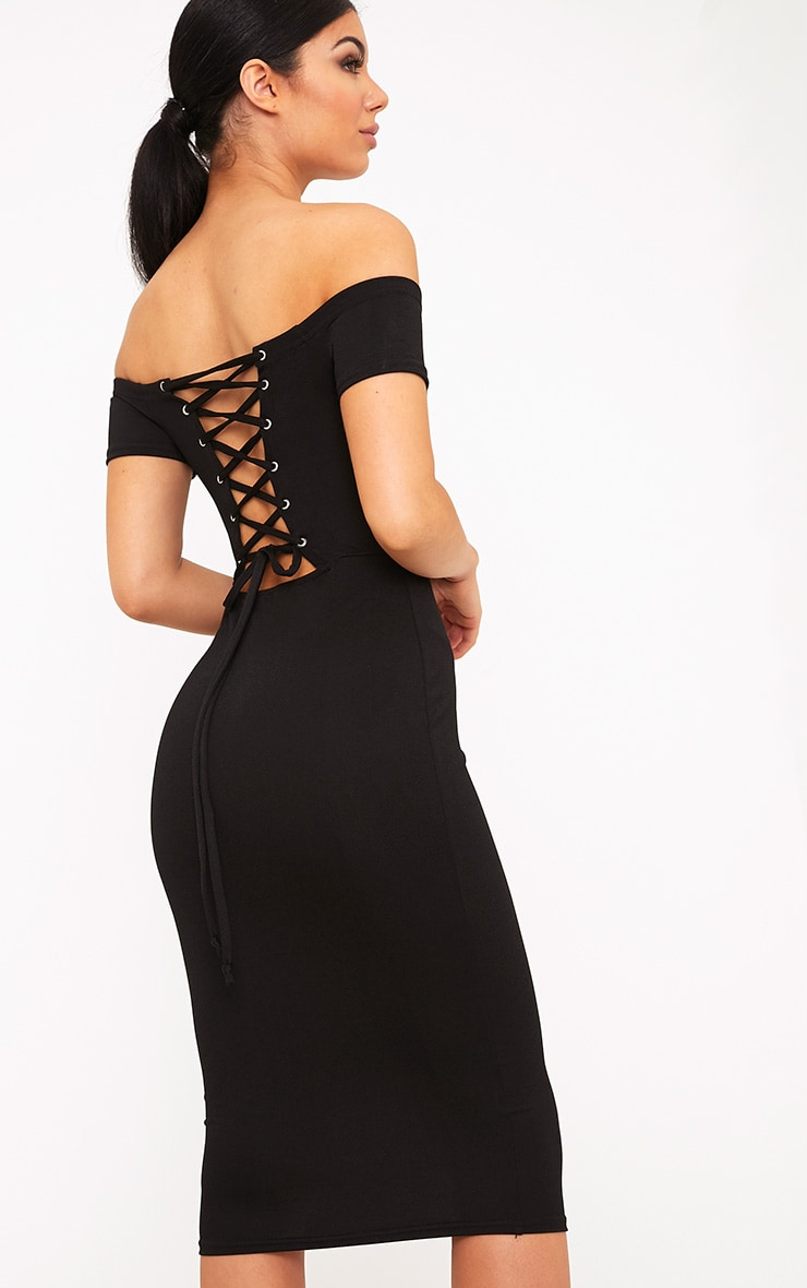 Aggie Black Lace Up Back Bardot Midi Dress 1