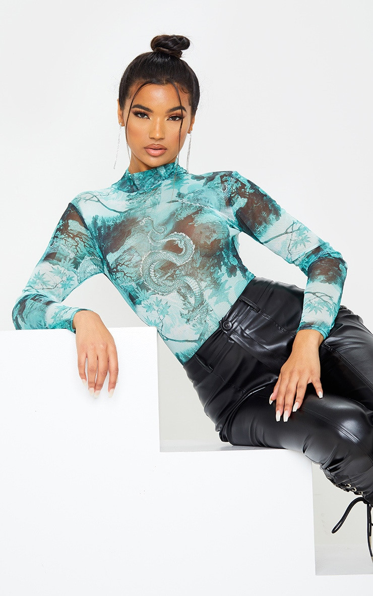Emerald Green Dragon Print Mesh High Neck Long Sleeve Bodysuit