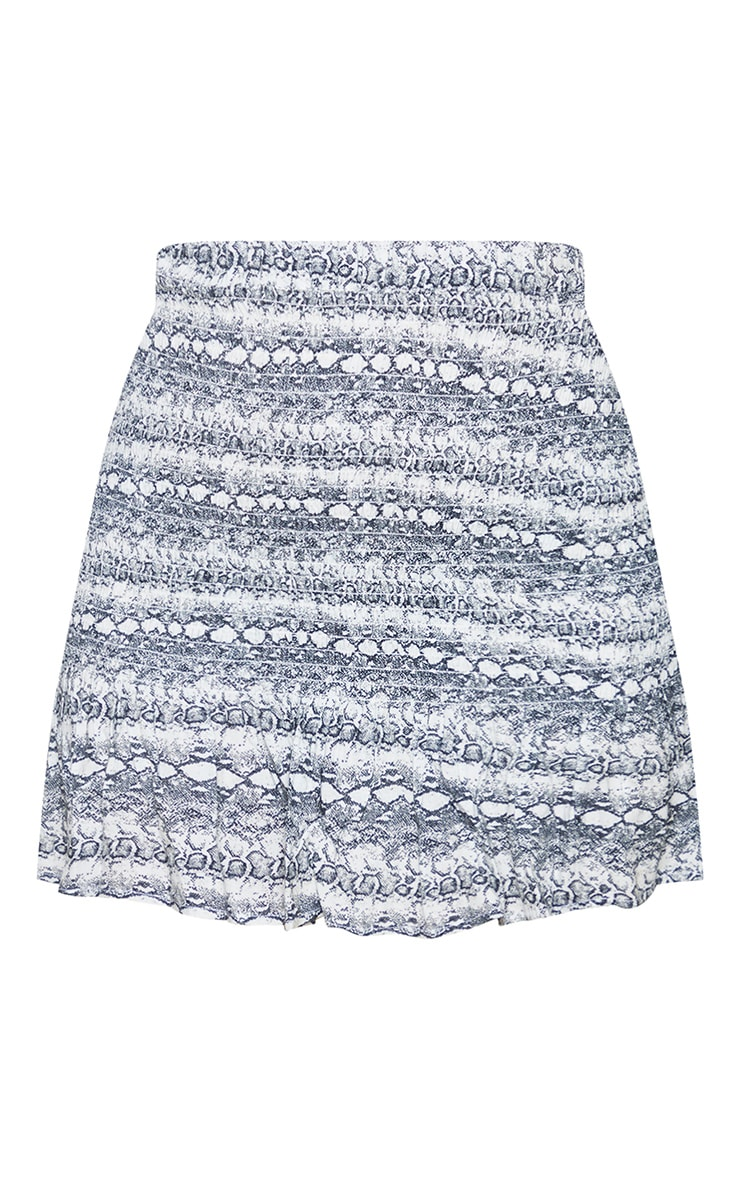 Grey Snake Woven Shirred Frill Hem Mini Skirt 6