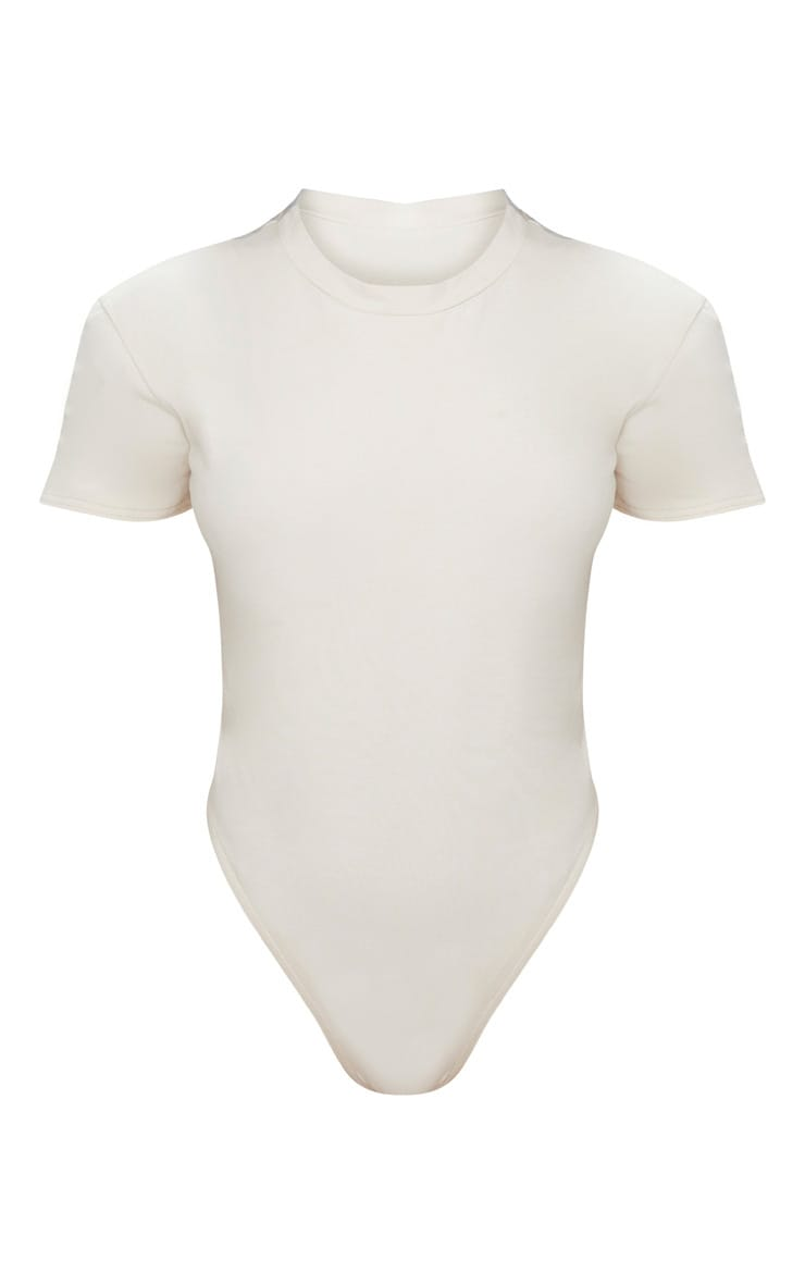 Cream Cotton Stretch T Shirt Thong Bodysuit  4
