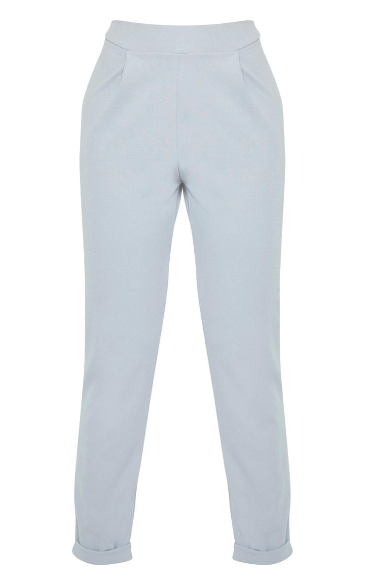Tall Grey  Basic Roll Cuff Crepe Pants 3