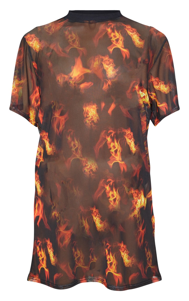 Robe t-shirt oversize en mesh noir à imprimé feu 3