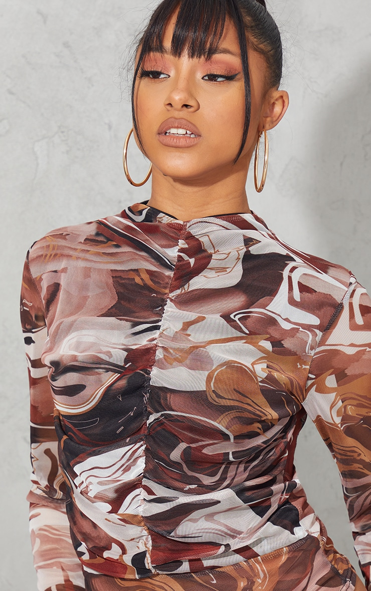 Brown Abstract Swirl Printed Mesh Ruched Front Long Sleeve Bodysuit 4