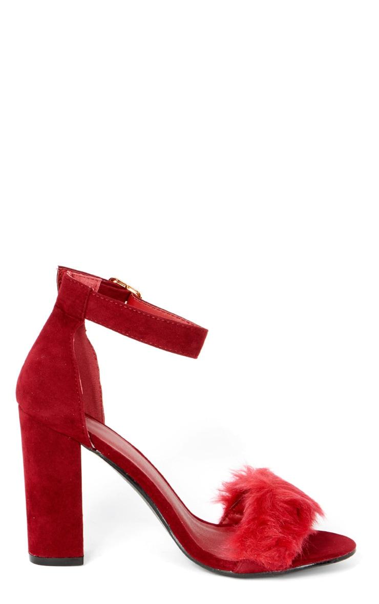 Adalyn Red Fluffy Block Heeled Sandal  5
